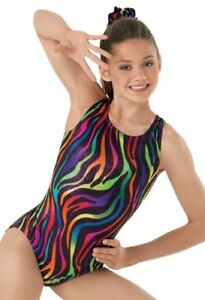 NEW-Girls-SIZES-6-8-zebra-Gymnastics-Acrobatic-dance-leotard-Acro-Dancewear