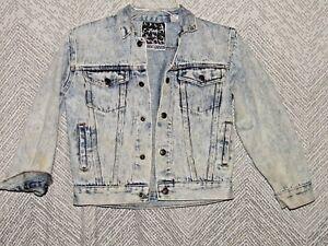 Vintage-Tomorrows-Generation-Child-039-s-Jean-Jacket-Size-Small-Acid-Wash-8-10-Denim