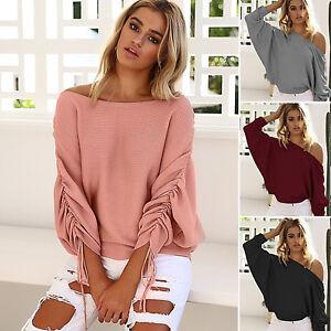 Damen-Schulterfrei-Pullover-Pulli-Strickjacke-Sweater-Sweatshirt-Tops-Oberteile