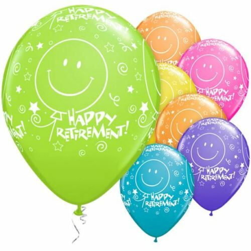 """Happy Retirement Latex Balloons Colour Mix pack of 3 or 6 12/"""" Round"""