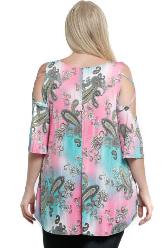 MINT PAISLEY TUNIC TOP PINK PURPLE FLORAL OPEN COLD SHOULDER S M L 8 10 12 14