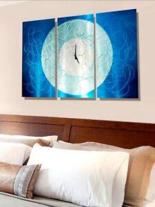 Large Metal Art Wall Clock ULTRA MODERN BLUE AQUA CLOCK ...