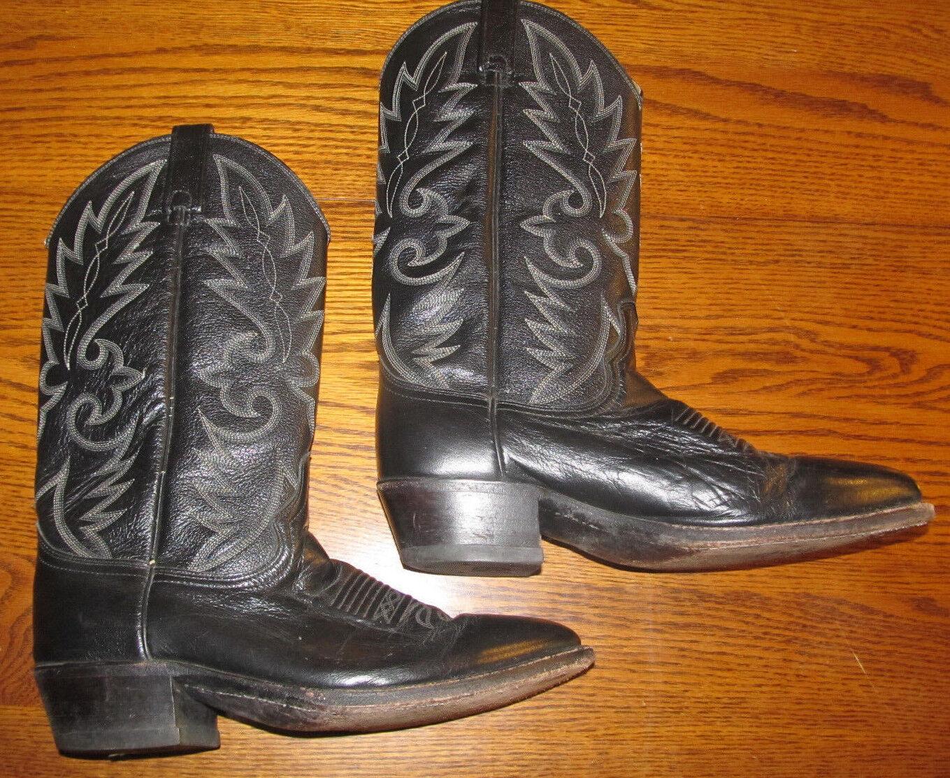 Dan Post El Paso Cowboy Boots Mens Size 8 1 2 D 8.5D Black Leather