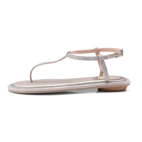 Women/'s Pearls Buckle T-Strap Flats Flip-Flop Loafers Sandals Leather Beach Shoe