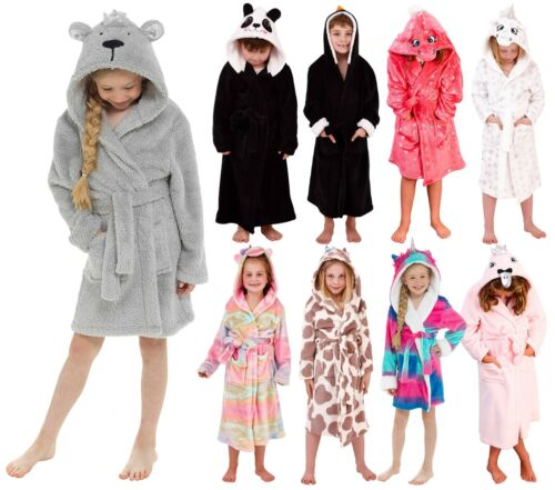 Womens Luxury Soft Coral Fleece Novelty Animal 3D Dressing Gown Robe with Hood