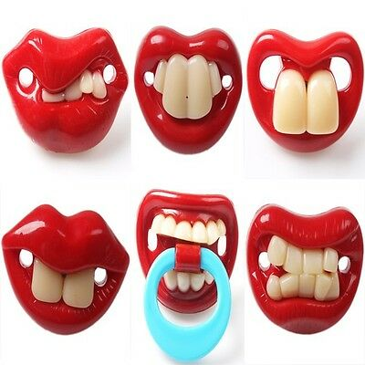 6 Designs Baby Funny Dummy Prank Pacifier Novelty Teeth Children Soother Nipple