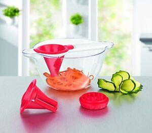 GOURMETmaxx-Spiralschneider-mit-Salatschuessel-rot-weiss-Ideal-fuer-Rohkost-Salat