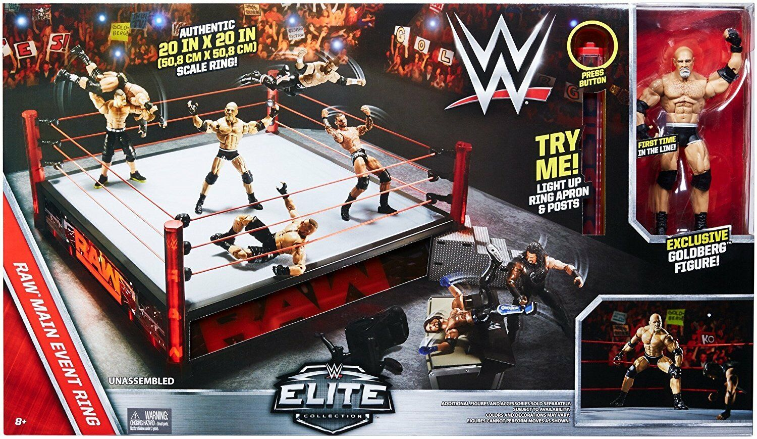 WWE Elite Raw Main Event Ring With Exclusive Goldberg Figure NEW