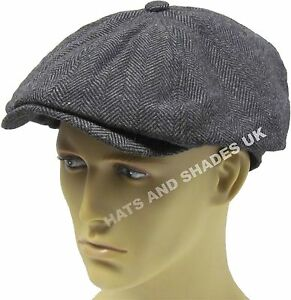Details about Peaky Blinders Newsboy Gatsby Flat Cap Hat Tweed herringbone  8 Panel Baker Boy b0e801a6536