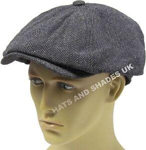 Details about Peaky Blinders Newsboy Gatsby Flat Cap Hat Tweed herringbone  8 Panel Baker Boy 96fe5d52ce17