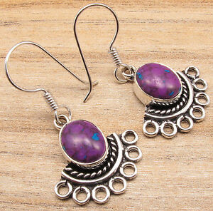 Retro-GIFT-Accessories-PURPLE-COPPER-TURQUOISE-Earrings-Silver-Plated-Jewelry