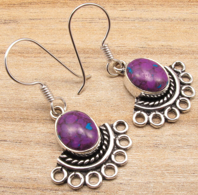 Retro GIFT Accessories ! PURPLE COPPER TURQUOISE Earrings, Silver Plated Jewelry