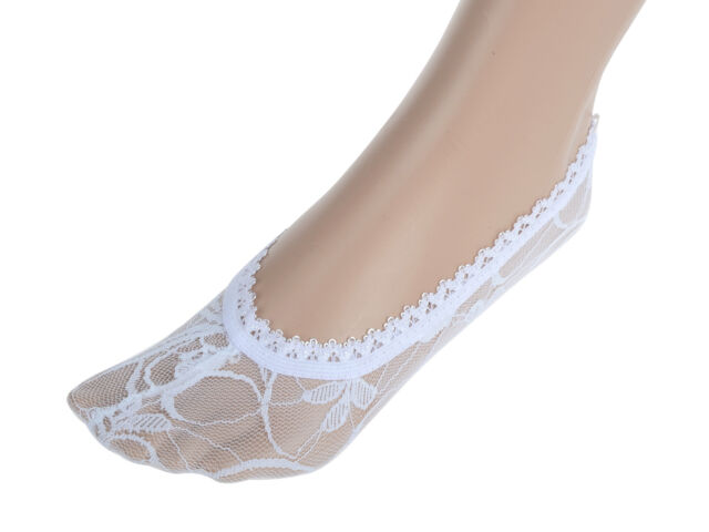 New Women Cotton Lace Antiskid Invisible Liner No Show Peds Low Cut Socks