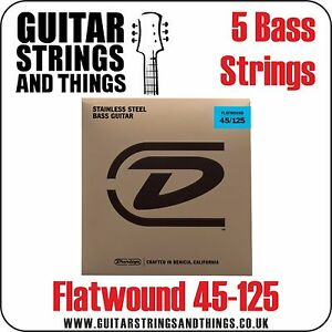 dunlop flatwound 5 string stainless steel 45 125 medium bass guitar strings ebay. Black Bedroom Furniture Sets. Home Design Ideas