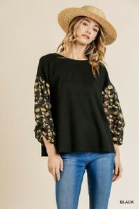 Umgee-Floral-Burnout-Sleeve-Waffle-Knit-Tie-Back-Top-Size-Small-Medium-Large