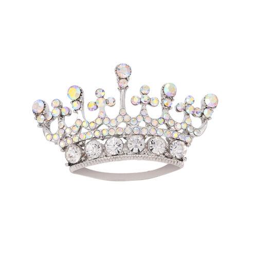 Sparkly Fashion Queen Crown Diamante Rhinestone Brooches Pins Silver