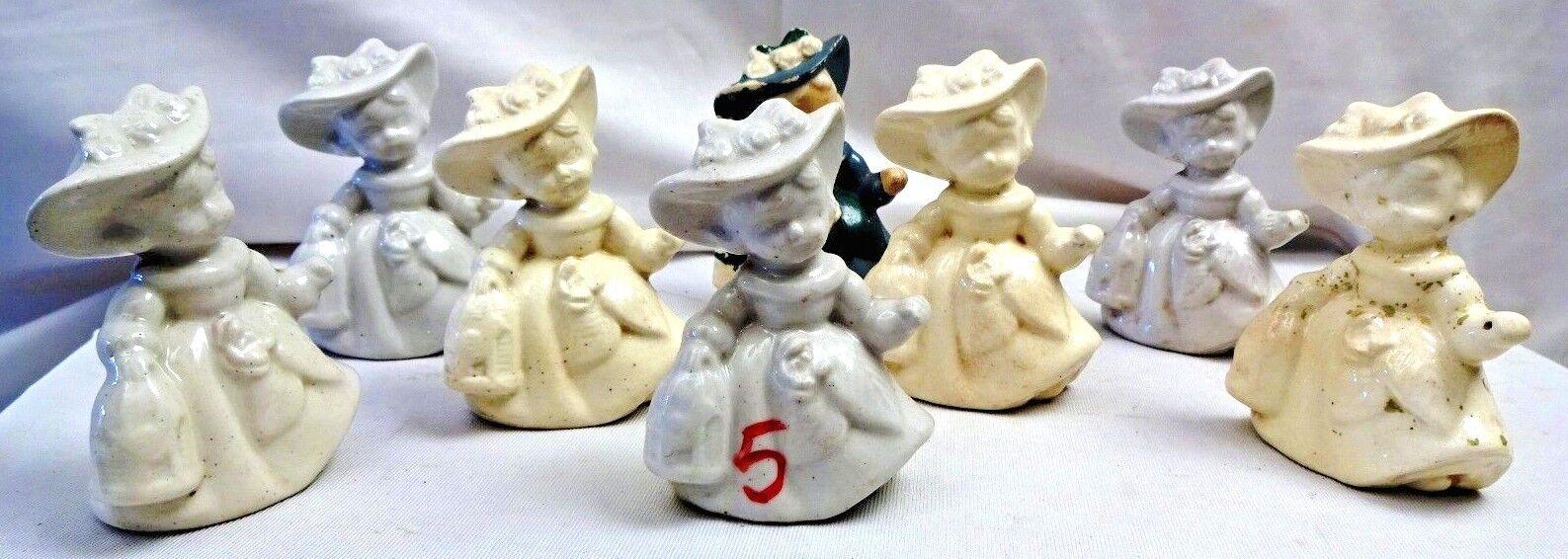 Figura De Muñecas Vintage Cerámica Porcelana bailando Hermoso Coleccionable Sombrero Grande