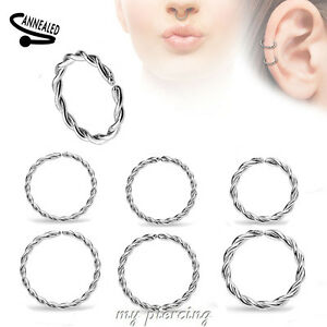2pc 20g 18g 16g Anodized Seamless Nose Hoop Nose Ring Labret Earring Septum Ring