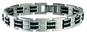 Sabona-353-Mens-Exec-Stainless-Steel-Rubber-Magnetic-Bracelet