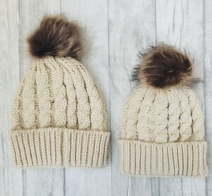 Matching MUM and BABY KNITTED HAT Cream Set Bobble WINTER Hat af8c50de12e