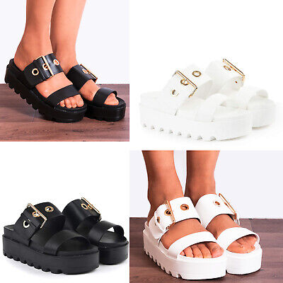 Chunky Cleated Platforms Buckle Sliders Slides Slip On Starppy Sandals Size 3-8