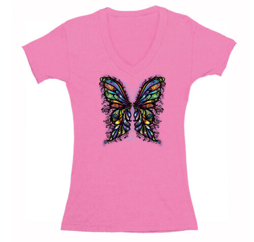 Womens Butterfly Wings Rainbow Colors Colorful Animal Cute Gift V-Neck T-Shirt