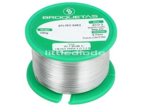 ECO3-07//01H Solder Sn97Cu3 wire 0.7mm 100g Flux No Clean ECO3B2.107MM100GR