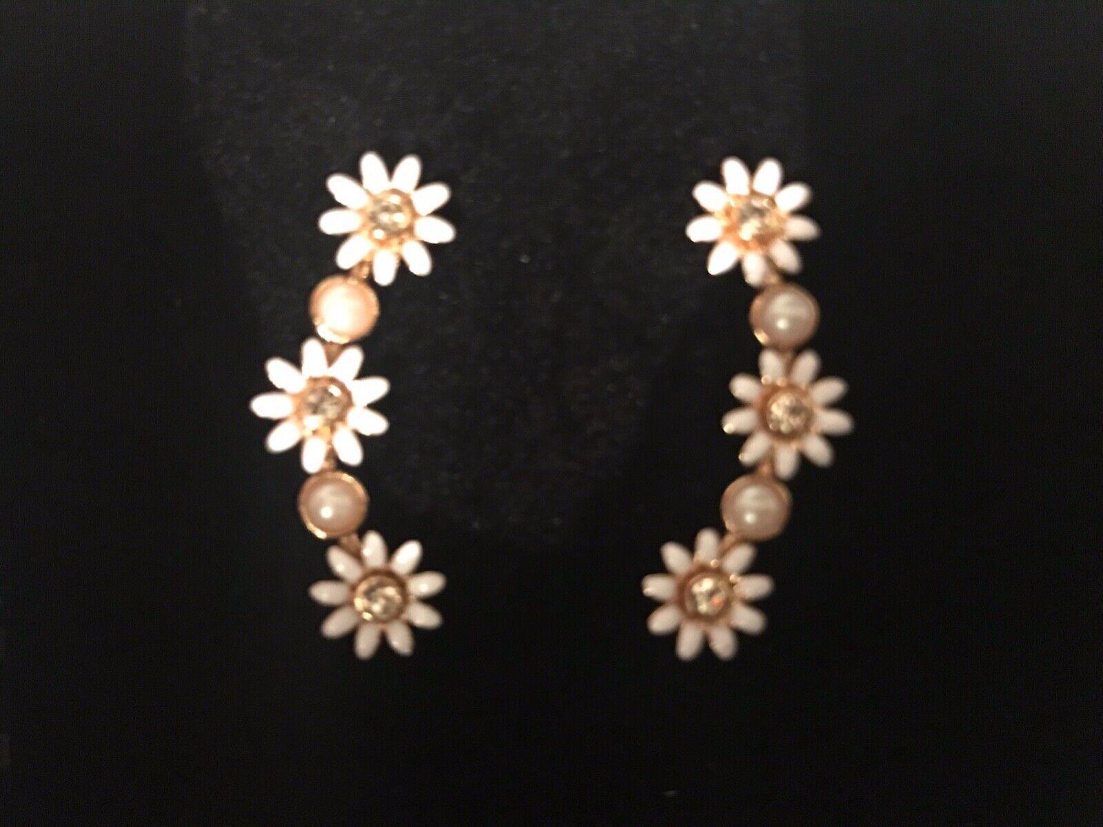 NEW EAR CLIMBER goldEN FLOWER EARRINGS