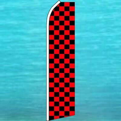CHECKERED Windless Swooper Feather Flag Tall Banner Sign 3' Wide BLACK RED