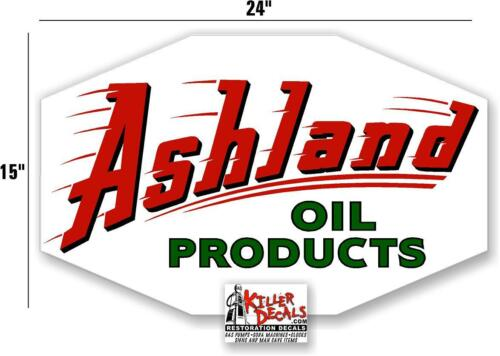 """24/"""" HEX ASHLAND OIL PRODUCTS DECAL GAS AND OIL PUMP SIGN STICKER ASHL-4"""