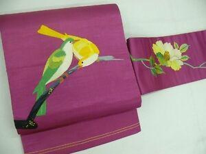 Antique-Pink-Silk-Japanese-NAGOYA-OBI-w-HAND-Emb-pair-Birds-B834