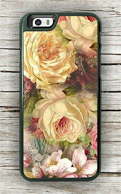 FLOWERS ROSES VINTAGE ART PAINT CASE FOR iPHONE 7 OR 7 PLUS -afv5Z