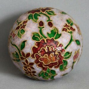 Vintage-Cloisonne-Enameled-Flowers-Pink-Paperweight-Twisted-Rope-Wire