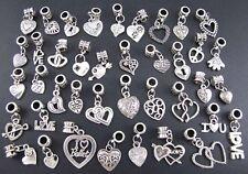 40X Mixed Lots Tibetan Silver Love Heart Charms Beads Fit European Bracelet DIY