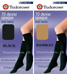 2 PAIRS OF LADIES 40 DENIER OPAQUE KNEE HIGHS WITH LYCRA* BLACK ONE SIZE