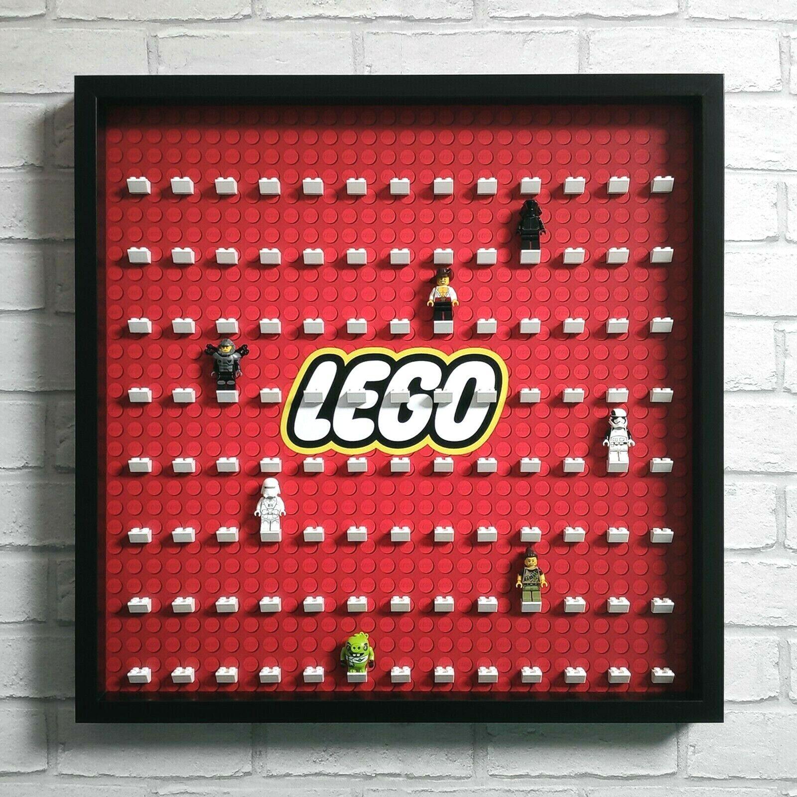 LEGO Minifig Visa ramfall stort - passar 104 Minifigs - svart (röd logo)