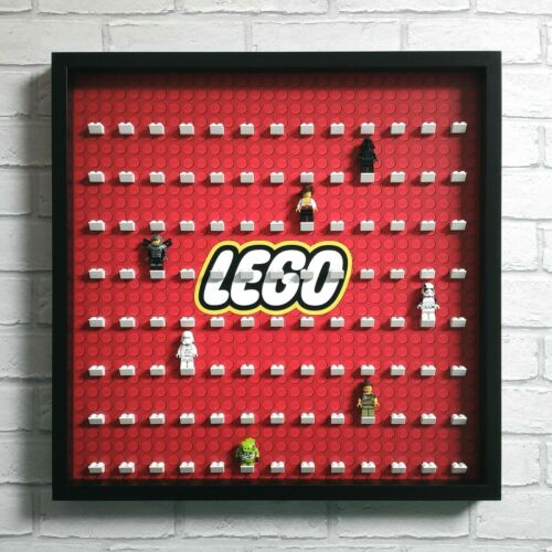 Black Fits 104 Minifigs LEGO Minifigure Display Frame Case Large Red Logo