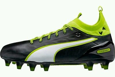 2af024fd1e8b Puma Evotouch 1 FG Leather Soccer Cleats Youth US 6 Black Volt NEW  125