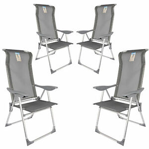 4x alu klappstuhl garten stuhl camping hochlehner verstellbar stabil aluminium. Black Bedroom Furniture Sets. Home Design Ideas