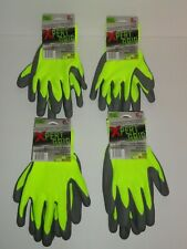 4 Pair Safety Work Hi Vis Foam Rubber Honey Comb Latex Coating One Size Non Slip