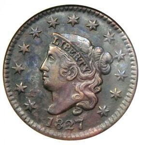 1827-Coronet-Matron-Large-Cent-1C-Certified-ANACS-AU50-Details-Rare-Coin