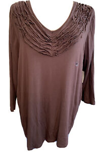 2X-Architect-Women-Brown-Jersey-Knit-Women-039-s-Plus-Size-V-Neck-Top-3-4-Sleeve-New