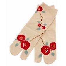 Chaussettes japonaises TABI femme,enfant 34/39 beige motifs fleurs rouge