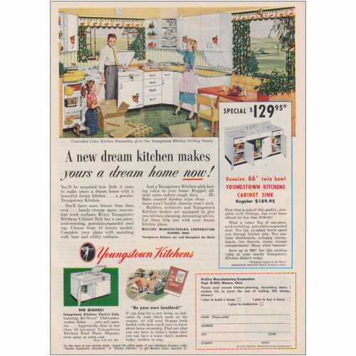 A New Dream Kitchen Vintage Print Ad 1953 Youngstown Kitchens