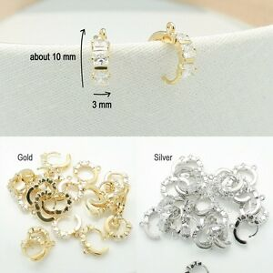 Image Is Loading Earring Findings Rhinestone Glossy Hook Jewelry Making