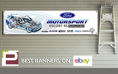 Ford Mustang White Workshop Garage Banner PVC with eyelets