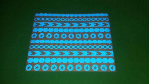 Reflective BLUE Safety stripes assorted Stickers Bike frame helmet stroller