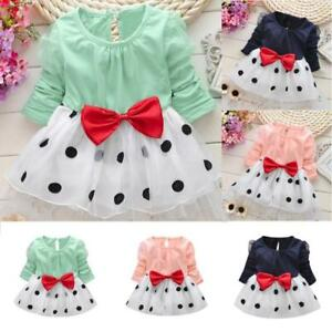 4e32736ff Newborn Infant Kids Baby Girl Dot Bowknot Fold Tulle Party Daily ...