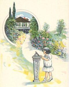 1910's - 1920's Advertising Book Mark Heintz's Shoes Cute Little Girl & Sun Dial
