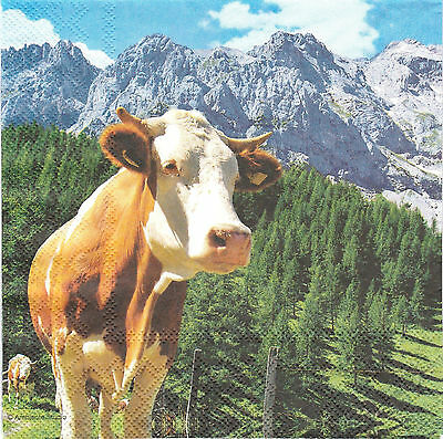 2 Serviettes en papier Vache Alpes Decoupage Paper Napkins Alps Cow